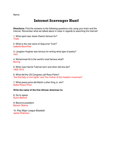 Black History Month Internet Scavenger Hunt By Lwmund Teaching