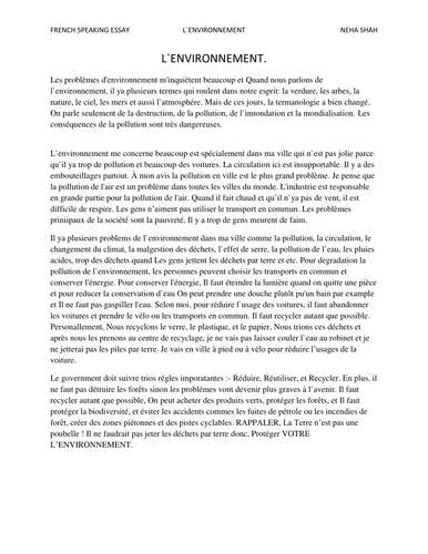 L environnement french essay by nehaa 28 teaching resources