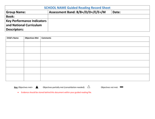 NEW CURRICULUM Guided reading & Individual reading assessment grids for year 1-6