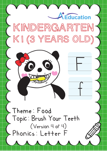 Food - Brush Your Teeth (IV): Letter F - Kindergarten, K1 (3 years old)