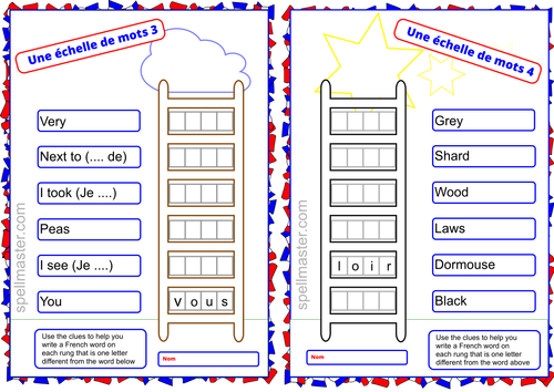 French Word Ladder 2 By Spellmaster Teaching Resources Tes