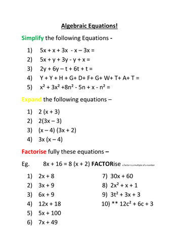 Worksheets Factoring Algebraic Expressions Worksheet algebra simplify expand factorise worksheet by lozter15 teaching resources tes