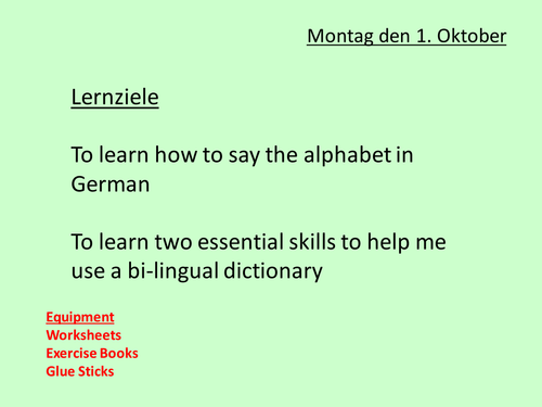Beginners German Lesson 2 Alphabet and Dictionary Skills