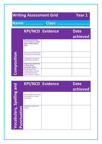 Assessment Grid for year 1 writing- New curriculum