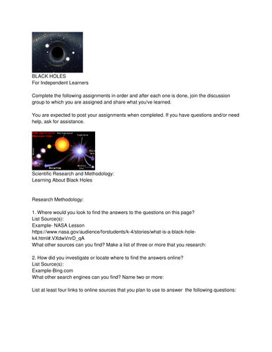 Science Investigation: BLACK HOLES For Independent Learners