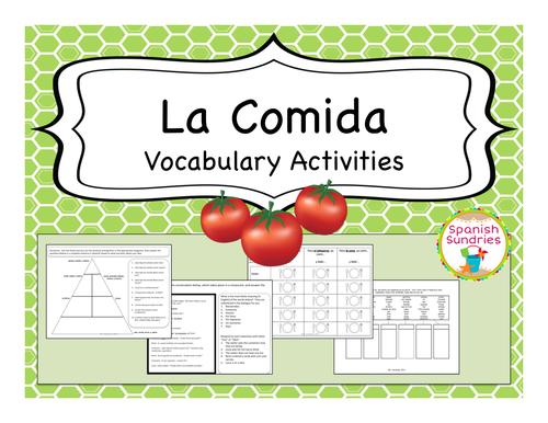 Spanish Food (Comida) Vocabulary Activities
