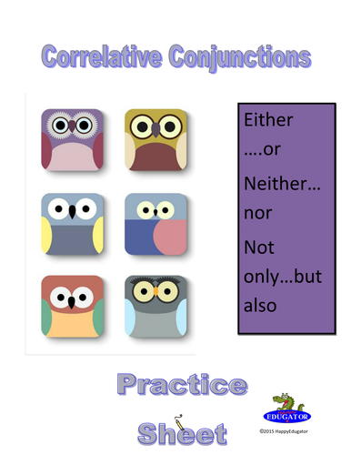 Correlative Conjunctions Practice Worksheet