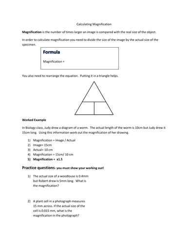 Calculating Work Worksheet : Calculating magnification gcse by vxylogianni teaching