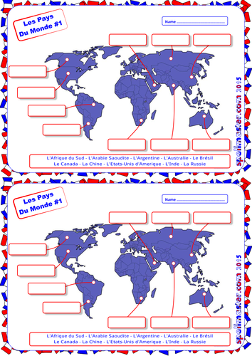 French: World Countries Map Activity 1 by spellmaster | Teaching ...