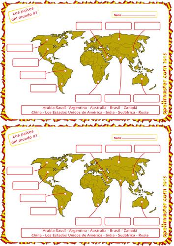 Spanish: World Countries Map Activity 1