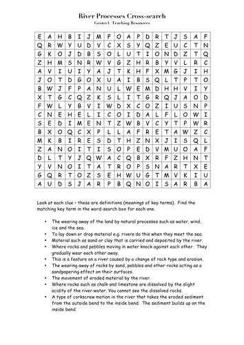 River Processes Cross search and Word search