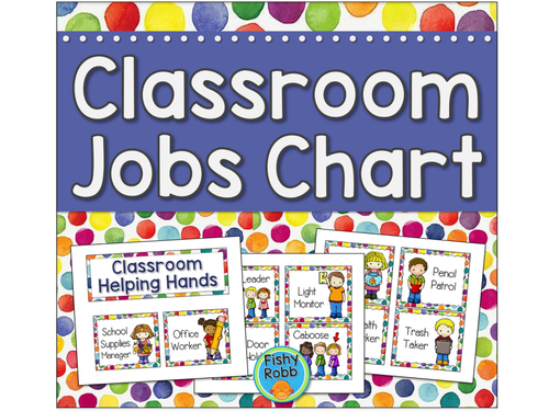 Classroom helpers job chart by fishyteacher teaching resources tes