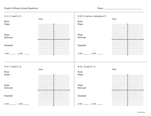 Graph-A-Palooza (Linear Equations)
