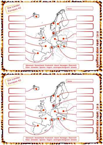 German: European Countries Map Activity 2