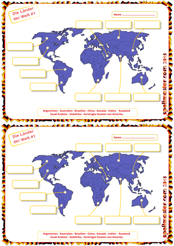 German: World Countries Map Activity 1
