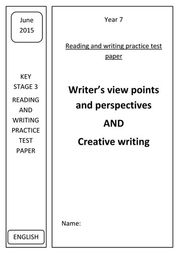 New Key Stage 3 Reading and Writing test (New AQA GCSE spec)