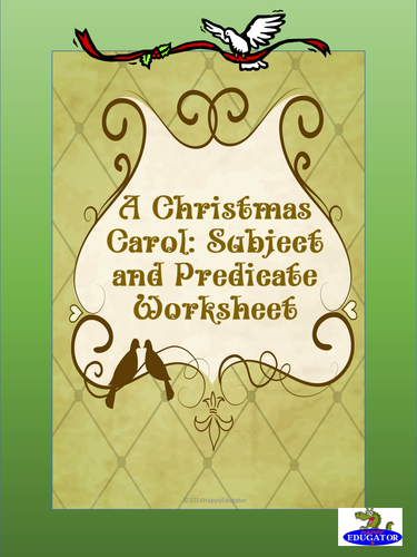 A Christmas Carol Subject and Predicate Worksheet US Version