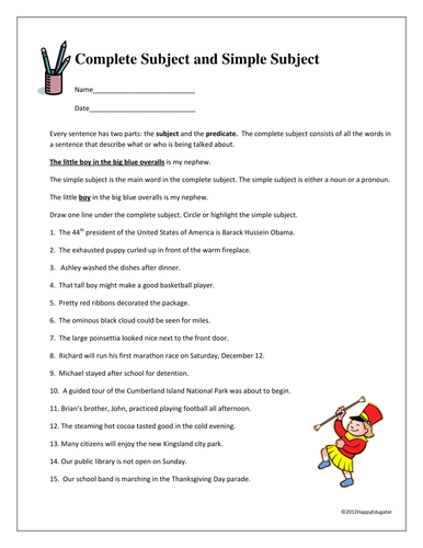 Simple And Complete Subjects Worksheets - Rringband