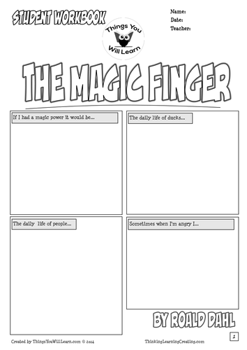 The Magic Finger by Roald Dahl Comic Style Workbook by
