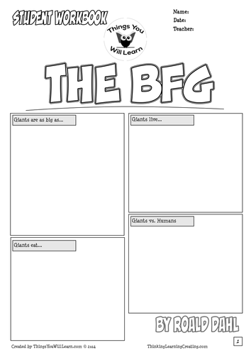 Worksheet Bfg Worksheets the bfg by roald dahl comic style workbook thingsyouwilllearn teaching resources tes