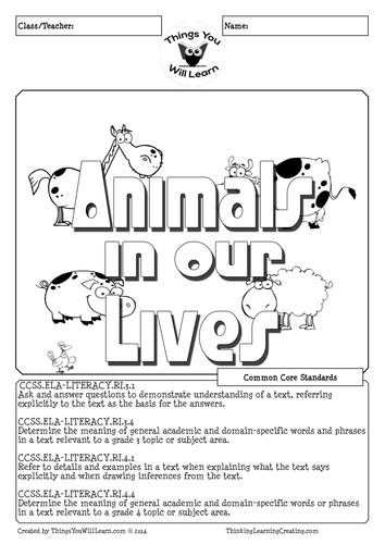 Animals in Our Lives Reading Activity Pack