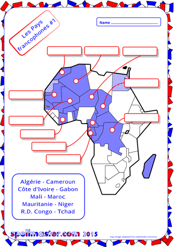 French French Speaking Countries  Map Activity 1 by spellmaster