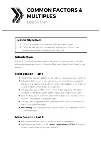 main factors of lesson plan papers This paper will discuss, and give, lesson plans for all understanding polynomials along with how to factor them lays this lesson plan will use two main.
