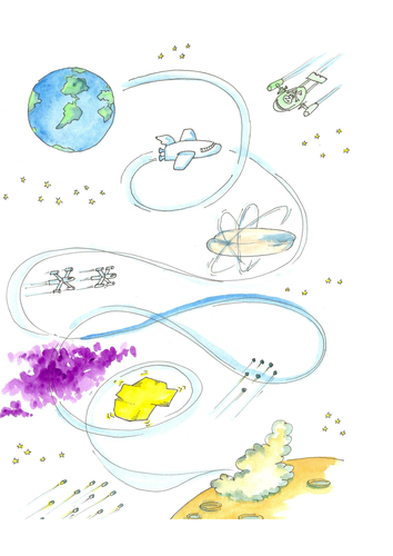 Space story map - story telling, writing, speaking and listening development