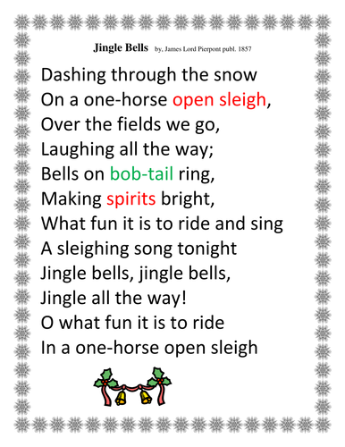 Christmas Activity - Teaching Vocabulary with Lyrics from Jingle Bells by Happyedugator ...