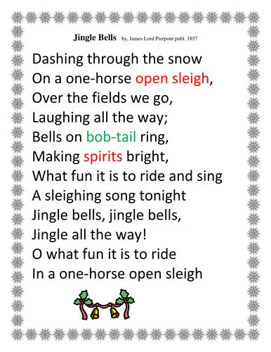 It is a graphic of Gargantuan Jingle Bells Lyrics Printable