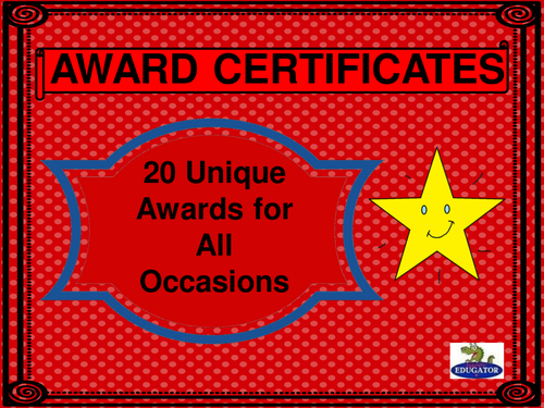 Awards Certificates - Twenty Unique Awards for All Occasions