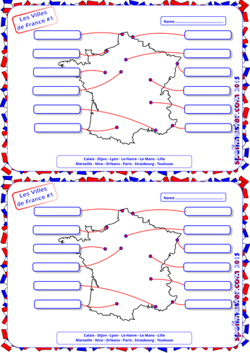 French: French  Cities & Towns - Map Activity 1