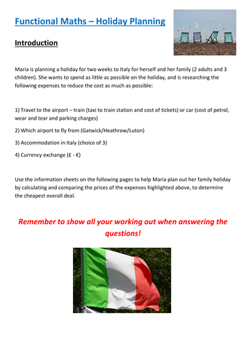 Functional Maths Activity (L1 - L2) - Holiday Planning (and GCSE)