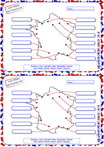 Map Of France For Ks2.French French Cities Towns Map Activity 2