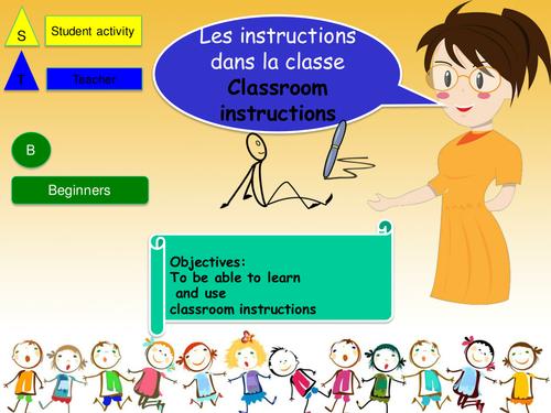 Classroom Instruction in french (NO Prep Lesson + activity) / Instruction dans la classe en francais