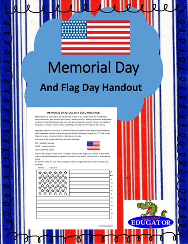 Memorial Day and Flag Day Coloring Activity