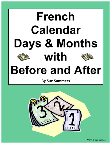 french calendar days and months with avant and apr s worksheet by suesummersshop teaching. Black Bedroom Furniture Sets. Home Design Ideas