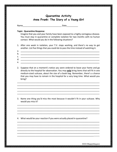 Quarantine Activity for The Diary of Anne Frank