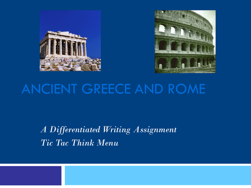 Ancient Greece and Rome Tic Tac Think