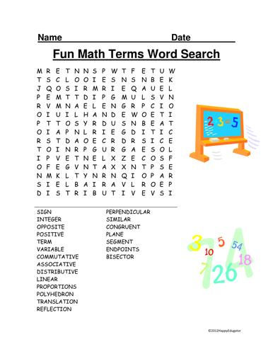 Fun Math Terms Word Search