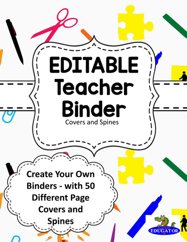 EDITABLE Teacher Binder Covers - School Supplies