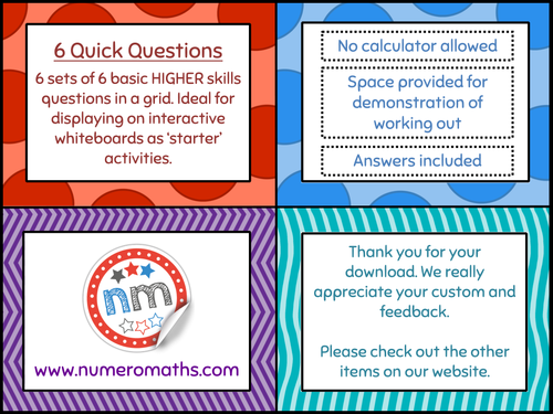 6 x 6 Quick Questions – Higher