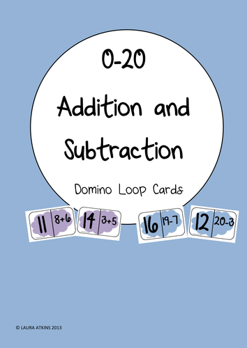 0-20 Addition and Subtraction Domino Loop Cards by MrsLauraAtkins ...
