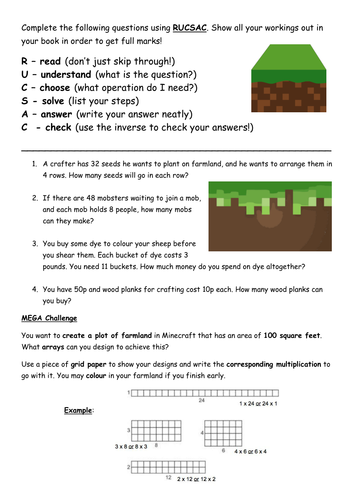 Minecraft Multiplication and Division Word Problems by vcurrie19 ...