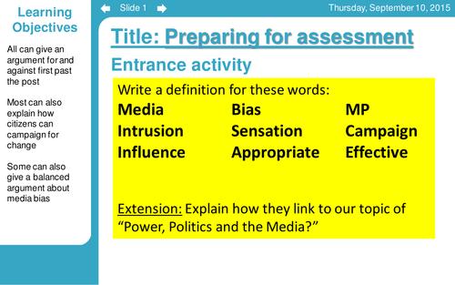 CItizneship Unit 1 (Edexcel) Topic 2 Power Politics and Media *BUNDLE* 10 lessons