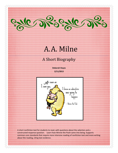 A. A. Milne Biography Activity and Constructed Response  - US Version