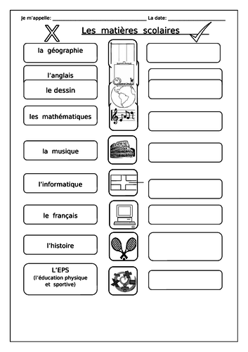 FRENCH - School Subjects - Les Matières Scolaires - Worksheets