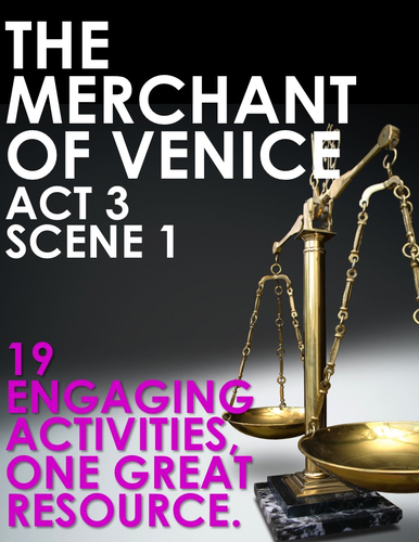 The Merchant of Venice Act 3 Scene 1 Choice Menu With 19 Engaging Activities