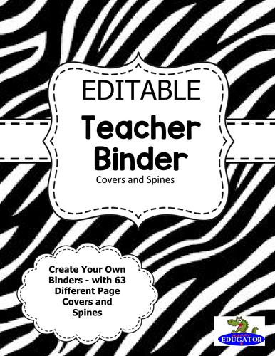 editable teacher binder covers zebra animal print by happyedugator