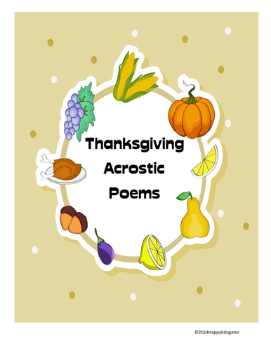 thanksgiving acrostic poems by happyedugator teaching resources tes